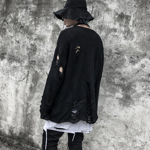Japanese trendy men's dark black hole funeral long-sleeved sweater sweater