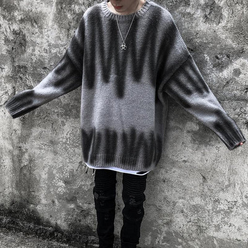 Japanese trendy men's round neck funeral style lazy long-sleeved knitted sweater