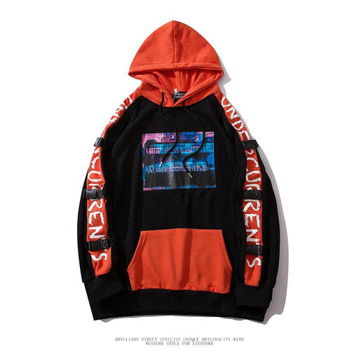 Japanese  Anime  Hip-hop transparent pocket couple hooded sweater