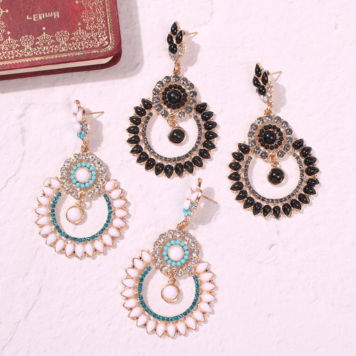 Full diamond alloy earrings, double circle hollow earrings