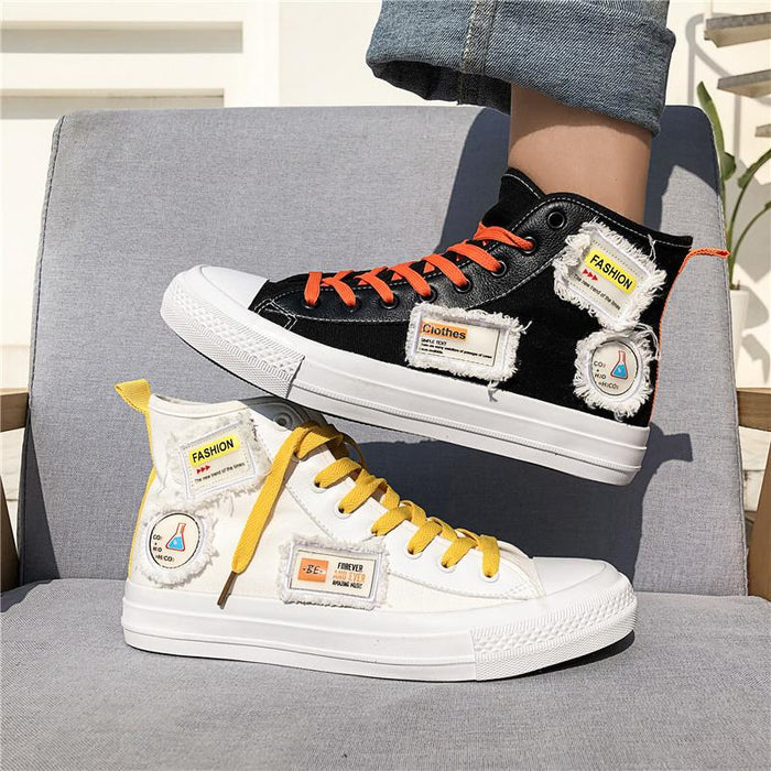 Japanese trend high-top canvas shoes all-match trend shoes casual shoes