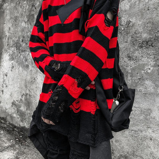 Japanese trendy boy black and red striped jacquard round neck hip-hop sweater