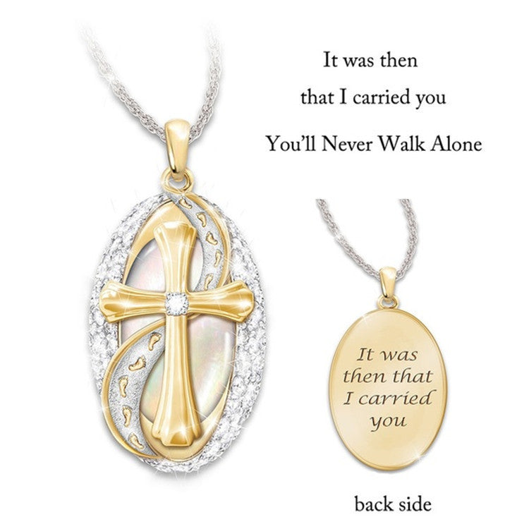 Two-color Christian Jesus diamond pendant cross glitter choker