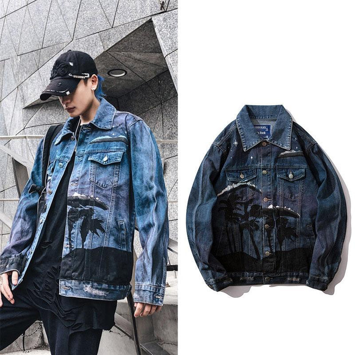 Japanese trendy man loose destruction printed denim jacket
