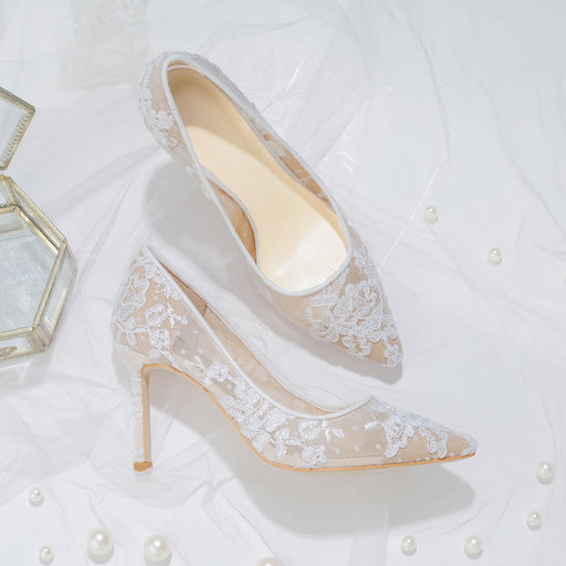 Glitter Heels  - White Lace Gauze Hollowing out