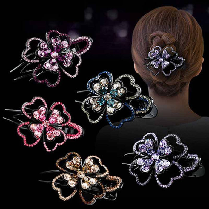 Glitter Sparkly Sequins Bling Diamond flower three-grip Hair Clip