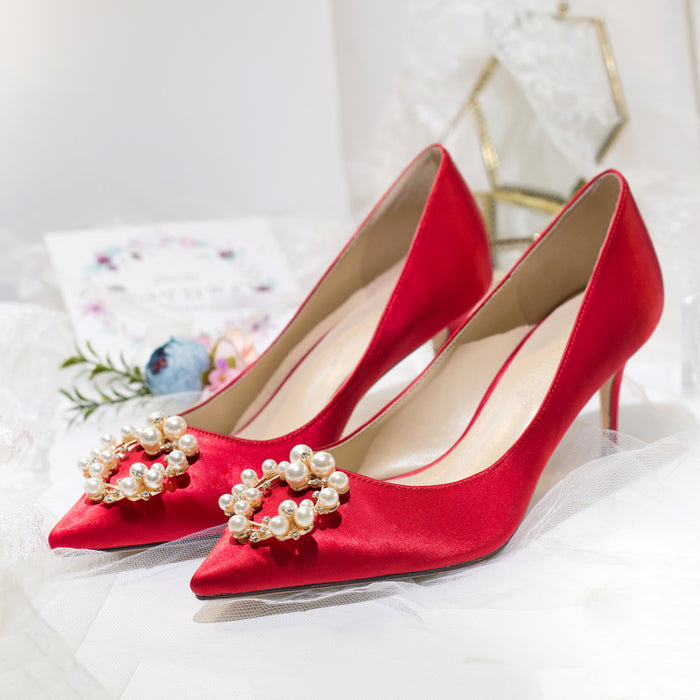 Glitter Heels  - Red Chinese Wedding Toast