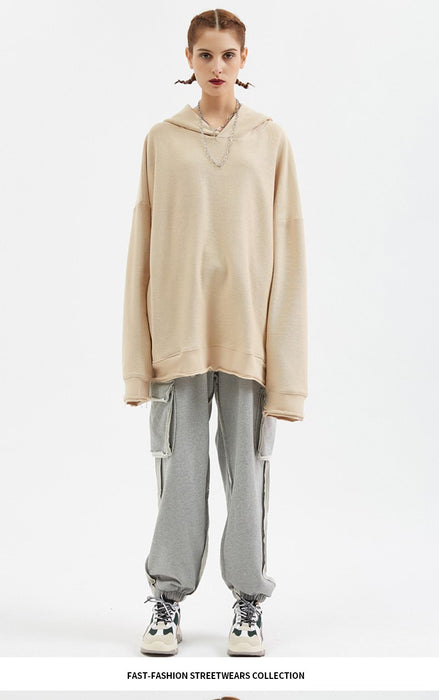Japanese Oversized Plain Coffee Hoodie