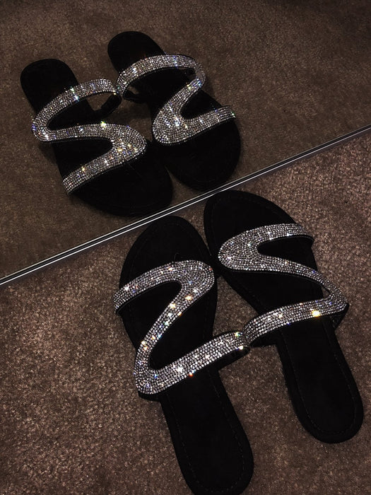 Sparkly crystal diamond sandals for women