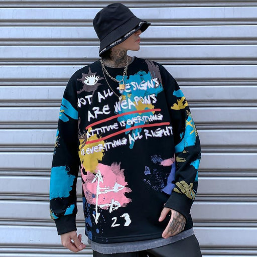 Kokoakeiko Japanese Hip Hop Dragon Tattoo Graffiti Printing  Sweater