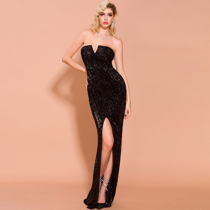 Bridesmaid tube top strapless Sequins long party  Black dress