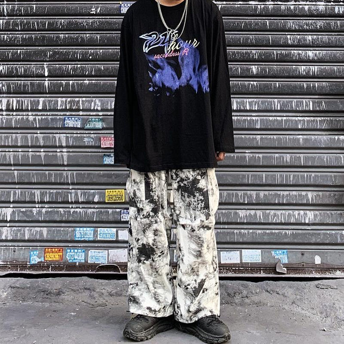 Japanese trendy boy with splash ink smoke camouflage overalls hip-hop funeral lazy trousers