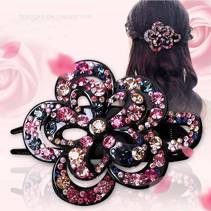 Glitter Sparkly Sequins Bling Diamond duck mouth elegant three-grip Hair Clip