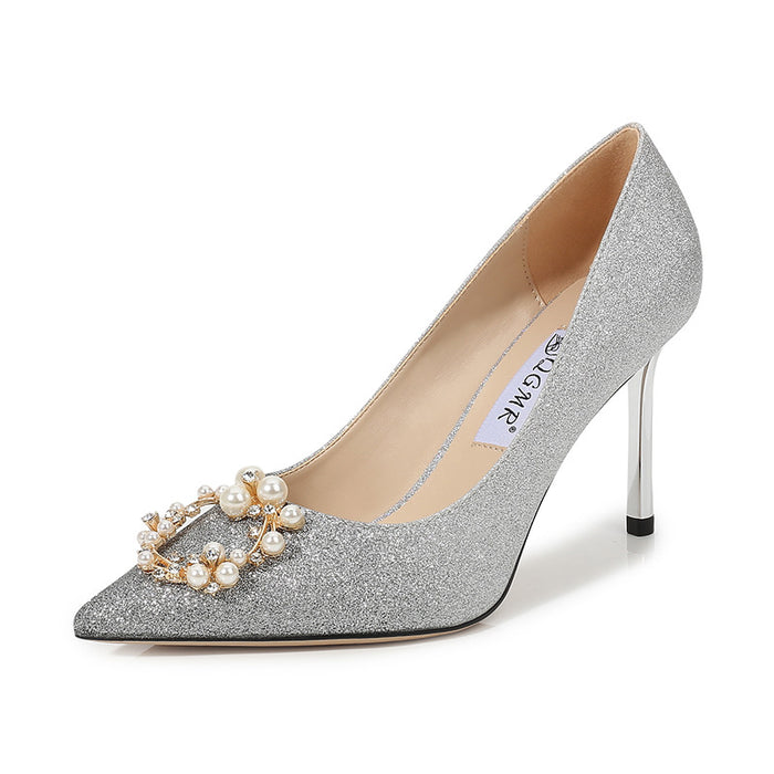 Glitter Heels  - Stiletto,Pearl,Shallow mouth,The gradient color