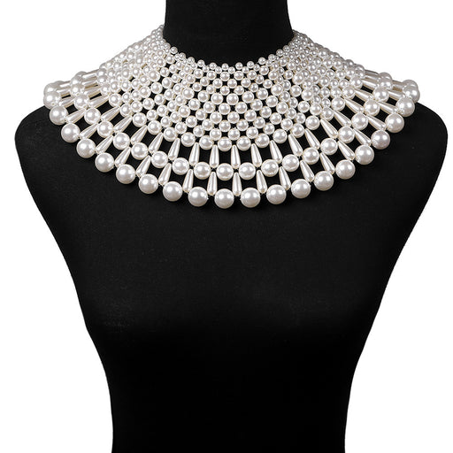 Sparkly Glitter Dazzling Hand-woven pearl shawl necklace