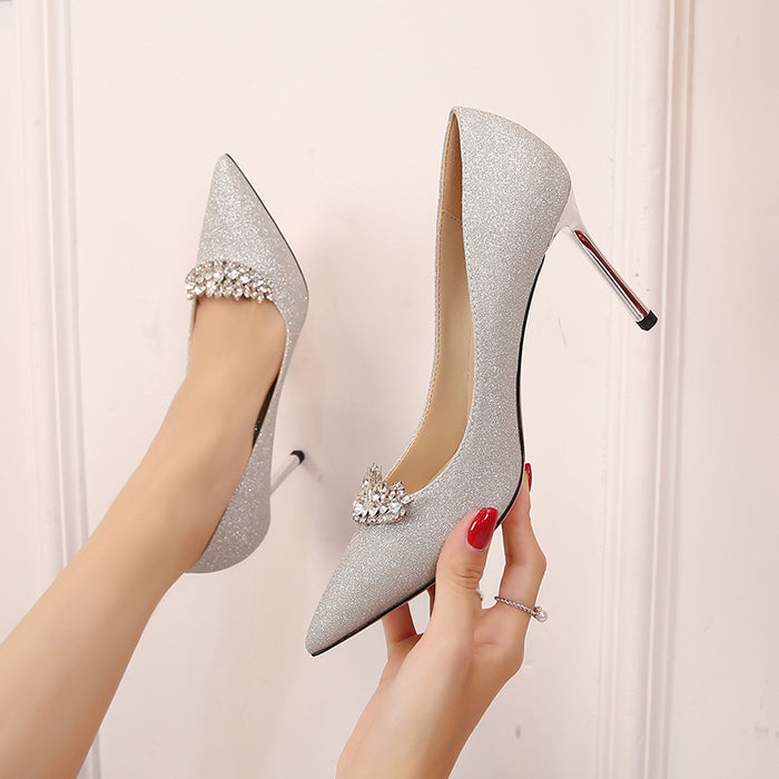 Glitter Heels  - Silver diamond pointed heels