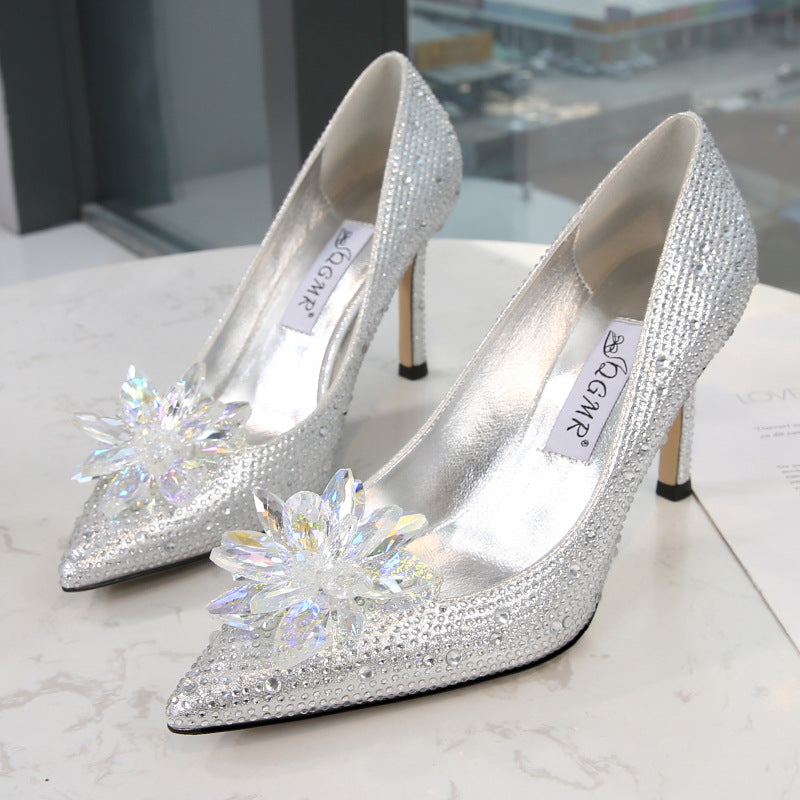 Glitter Heels  - Stiletto,Large size diamond