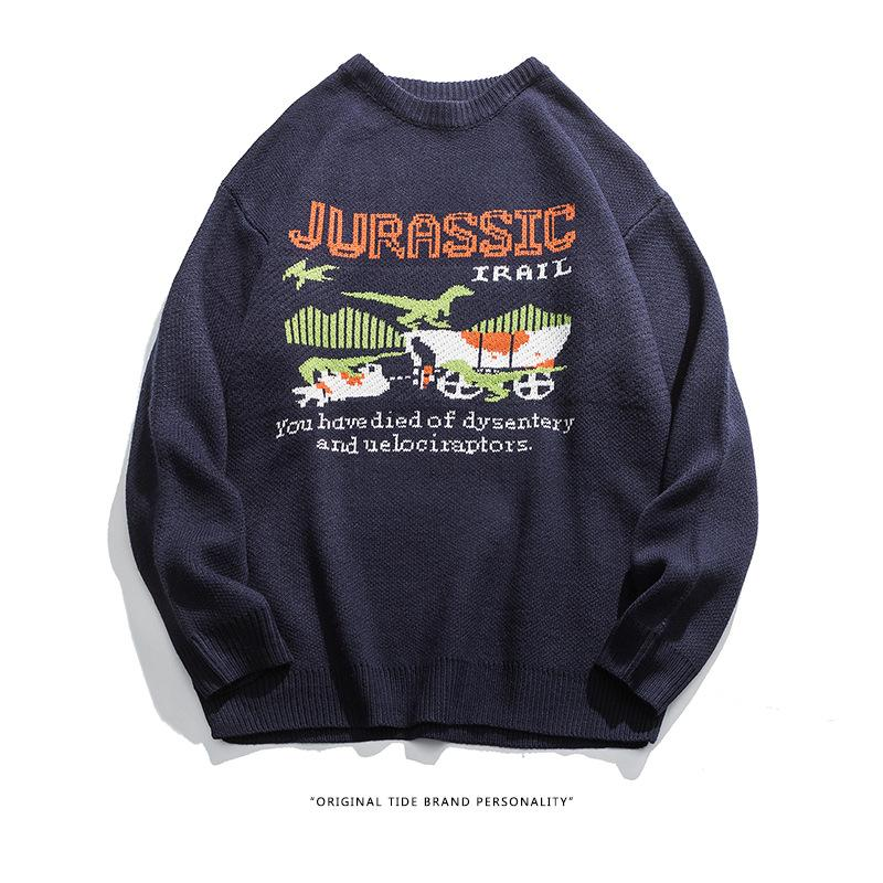 Kokoakeiko Rapper Harajuku cartoon dinosaur Sweater