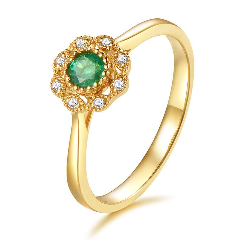 Fashionable temperament emerald plated 18K gold women's ring