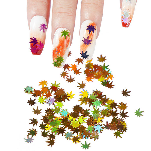 Sparkly Nail sequins multicolor flash maple leaf sequins Makeup Decorations