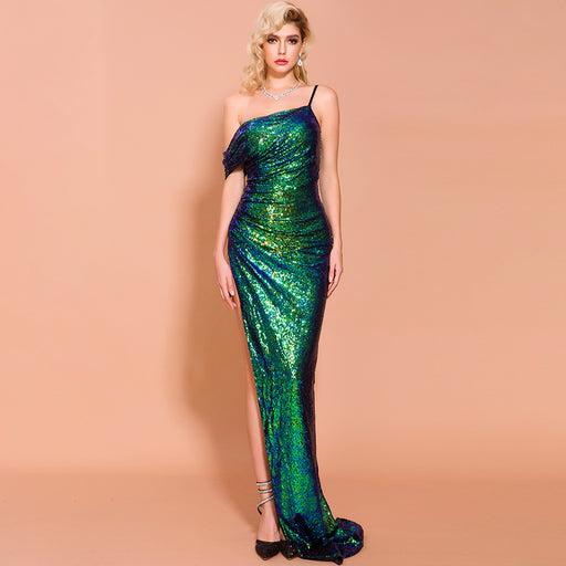 Bridesmaid Glitter  High slit irregular Suspenders Evening dress