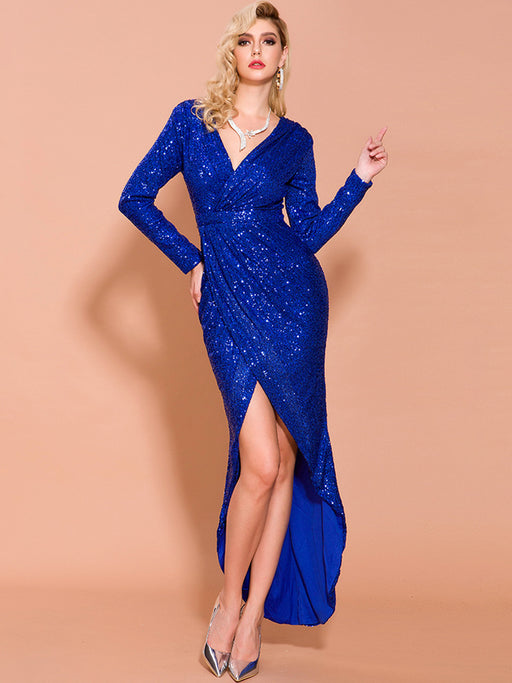 Sexy V-neck long sleeve sequin dress high split three-dimensional party nightclub evening dress