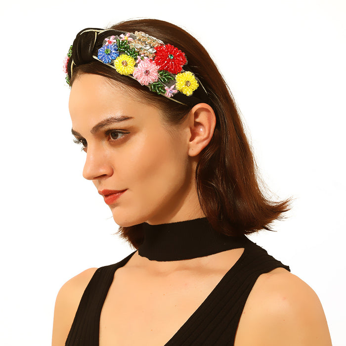 Sparkly Retro court inlaid with diamond color flowers knot temperament headband