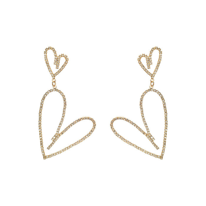 Irregular heart 925 silver fashion sparkling earrings