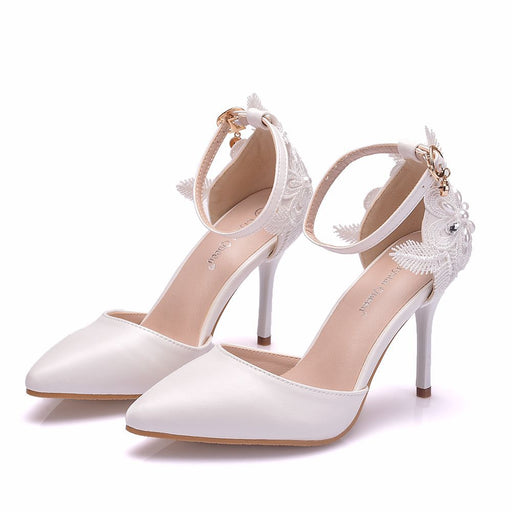 Glitter Heels -White lace Flower