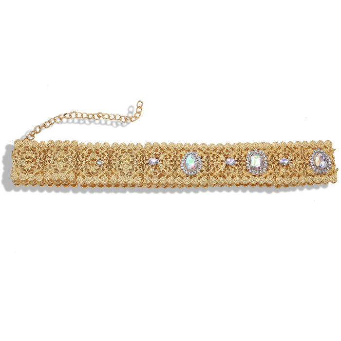 Glitter Sparkly Sequins Bling Alloy diamond - set hollow - cut waist chain