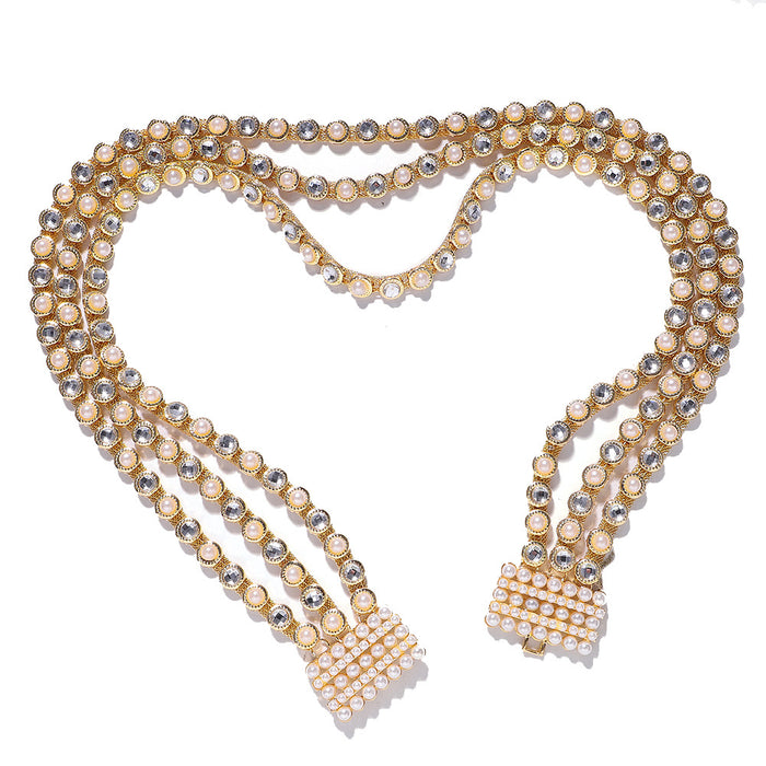 Glitter Sparkly Sequins Bling Alloy studded pearl waist chain