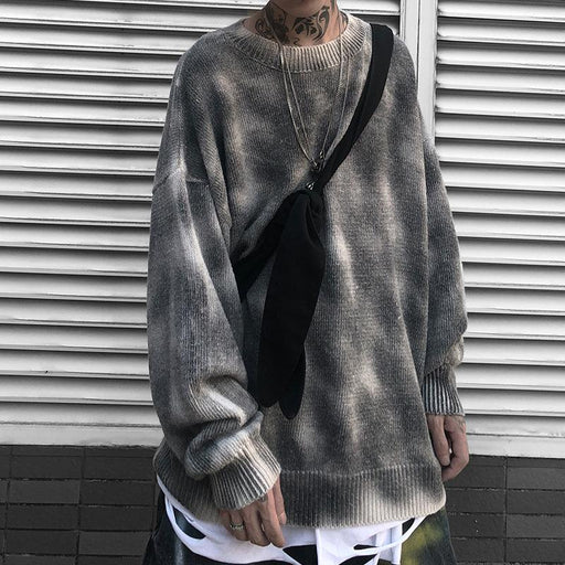 Japanese trendy male funeral style lazy hip-hop loose pullover sweater