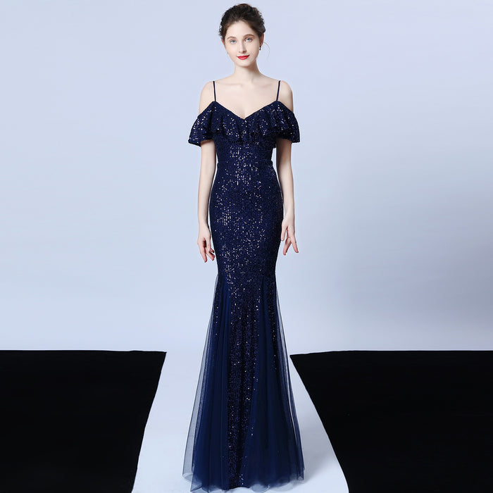 Party fringed Shiny fishtail ruffled dark blue evening dress