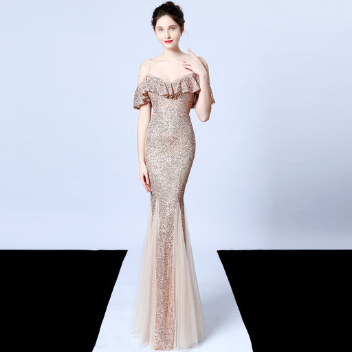 Bridesmaid fringed Sparkle fishtail ruffled gold evening dress