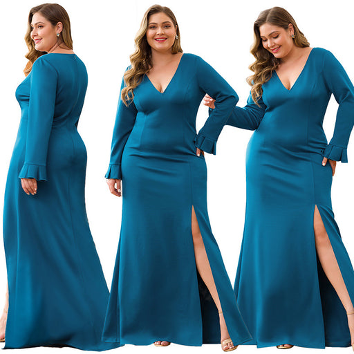 Party Deep V-neck Trumpet Long Sleeve High Split Sexy Oversized Evening Dress