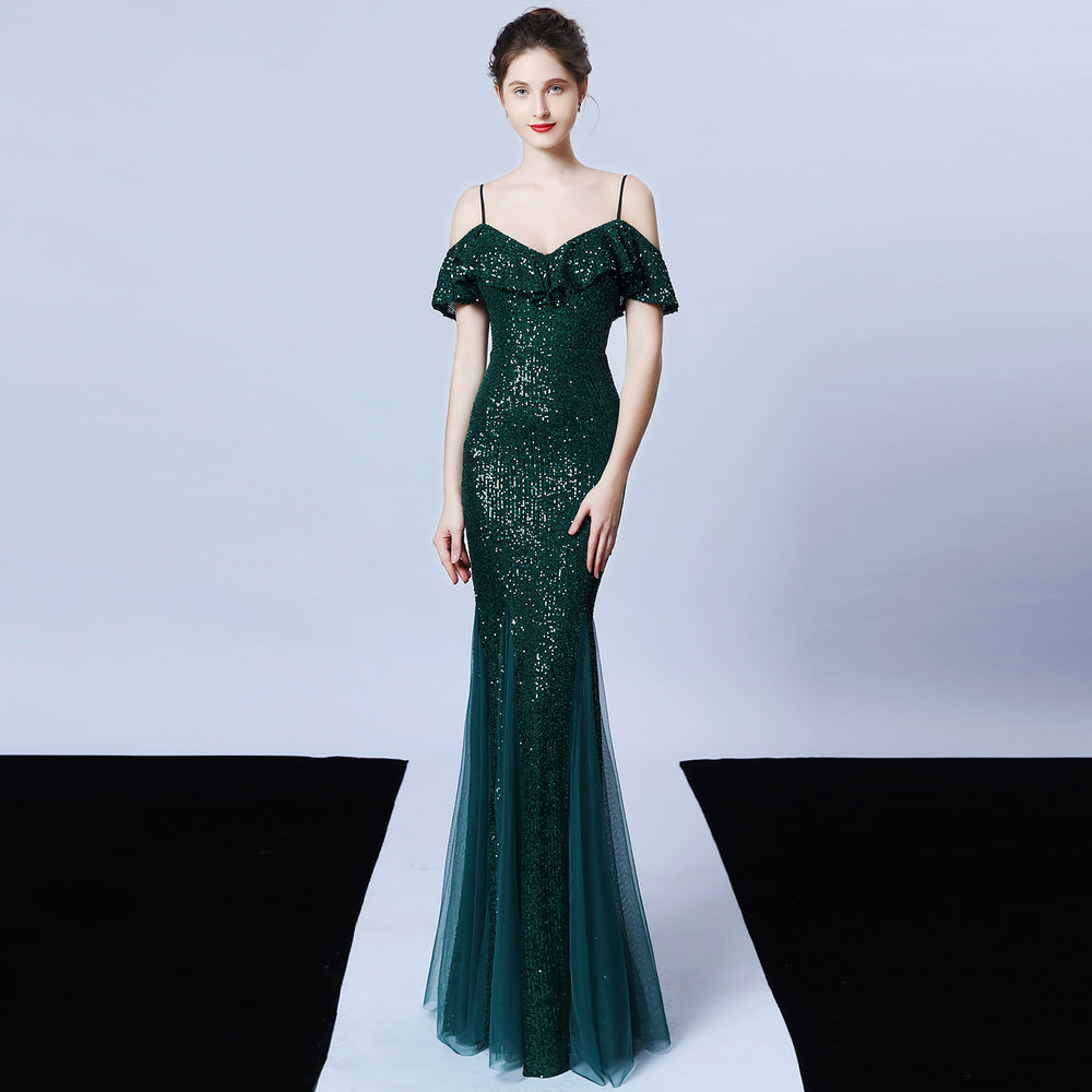 Polyester thread tassel beaded fishtail banquet evening dress