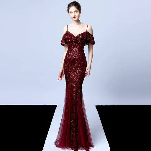 Night Club Tassel Shiny Fishtail Ruffled Red Evening Dress