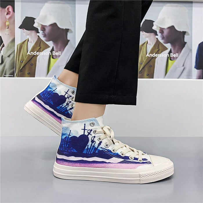 Japanese trendy all-match printed sneakers