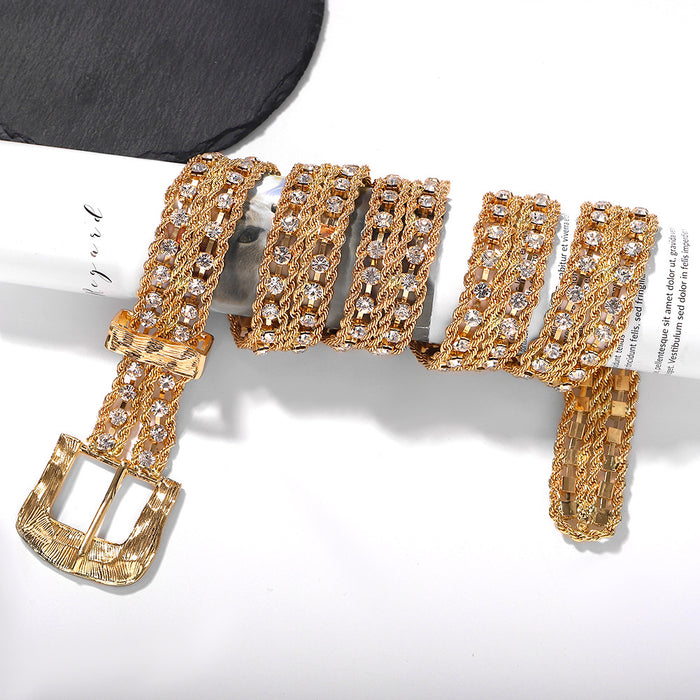 Glitter Sparkly Sequins Bling Alloy inlaid gem punk fashion stereo pattern chain waist chain