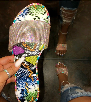 Sparkly diamond-encrusted sandals for women