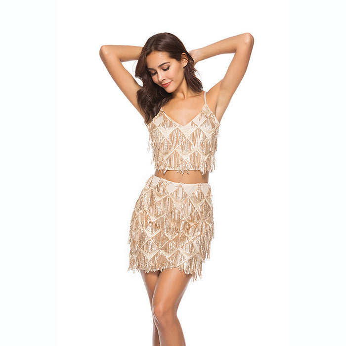 Deep v-neck sequined halter belt slim sexy buttock dress two-piece