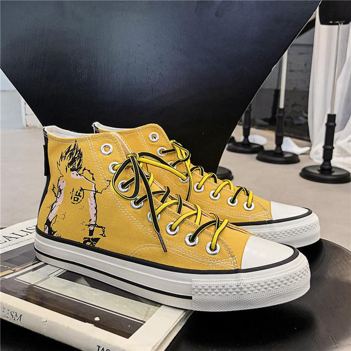 Japanese trendy man cartoon anime graffiti men high top canvas shoes