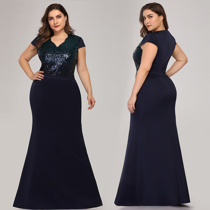 Banquet evening dress two-color Shiny  bag hip fishtail Navy blue dress