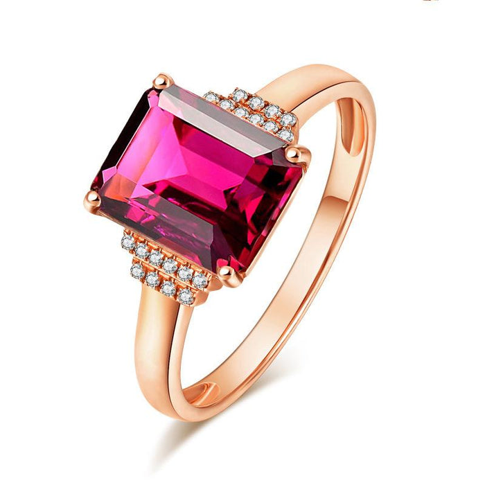 Rectangular ruby women's birthday ring