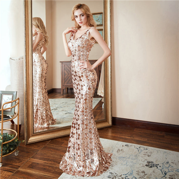 Plus size rose gold shoulder V-neck fishtail Sequin dress