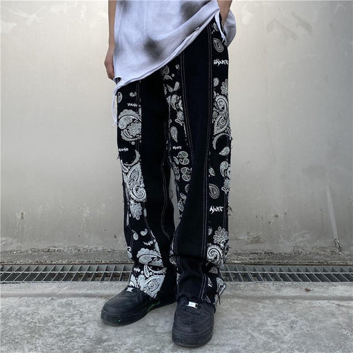 Japanese trendy men printed stitching denim hip-hop color matching loose trousers
