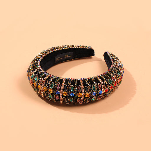 Sparkly Wide - edged diamond corduroy retro personality temperament headband