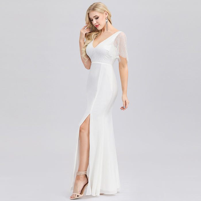 White light wedding dress transparent lotus leaf sleeve v-neck high split sexy elegant dress