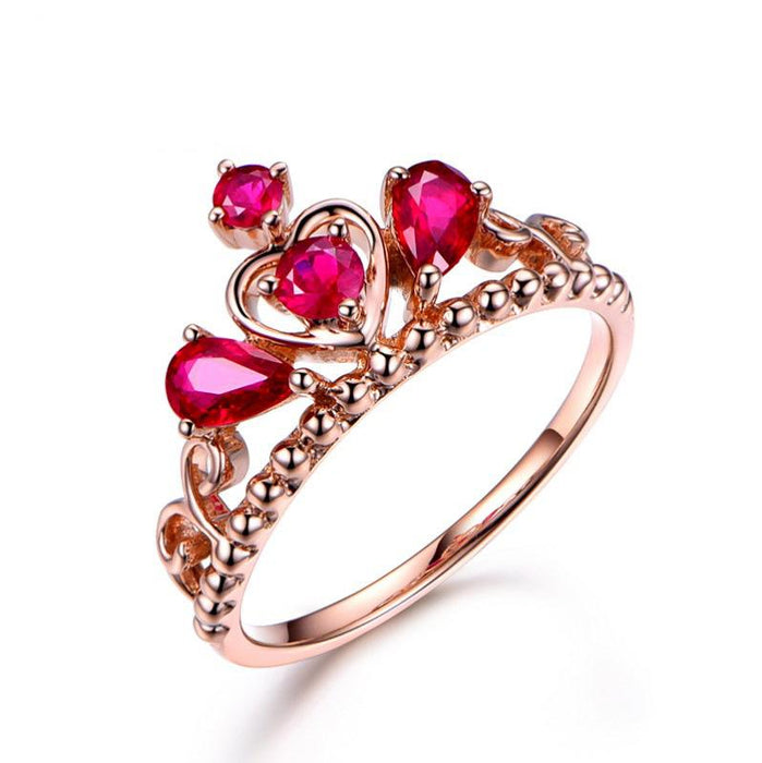 Noble crown temperament ruby women's ring
