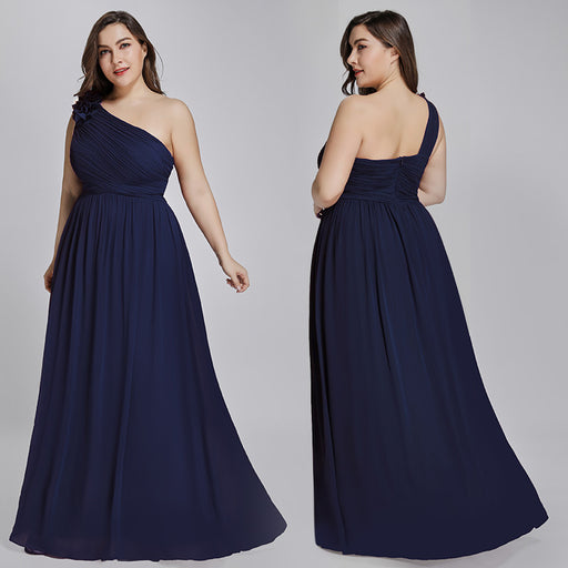 Party One shoulder bandeau Blue evening dress